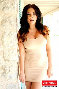 Ashley Emma strips sexy beige dress