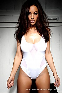 Lindsey Strutt in sexy white body suit