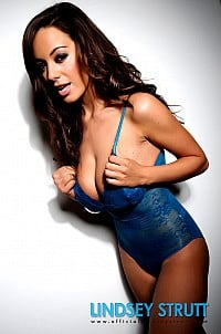 Lindsey Strutt in sexy blue body suit