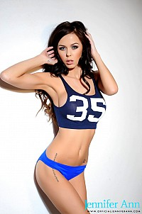 Jennifer Ann teasing in her blue 35 T top and panties