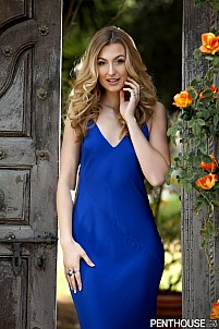 Alexa Grace poses in this silky blue dress to be Pet of the Month March 2018