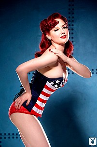Beautiful redhead pinup girl Angela Ryan gets wild