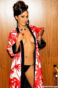 Kaylia Cassandra wearing kimono and black thong