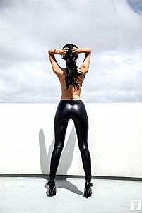 Superb girl Brittany Madisen strips off her leather pants