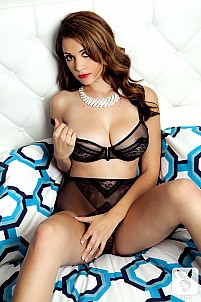 Ali Rose stripping black see-through lingerie on bed