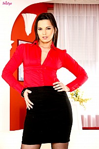 Eve Angel as hot secretary in red top with black skirt and stockings