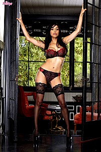 Idelsy is breathtaking in her lacy red and black lingerie and stockings