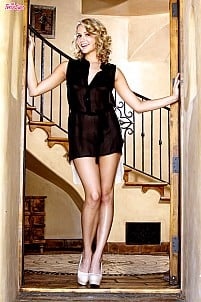 Mia Malkova stripping sexy black and white dress behind the stairs