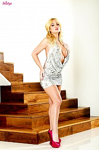 Angela Sommers stripping glamorous dress and showing her naked body