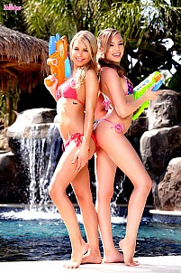 Aubrey Star having fun with her friend by the pool