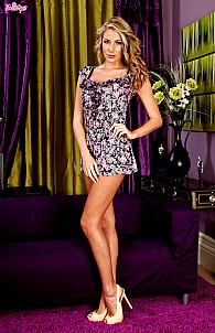 Danielle Maye in flower dress and lingerie