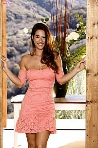 Eva Lovia sliding off pink dress