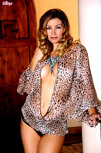 Heather Vandeven in sexy see-through leopard skin lingerie