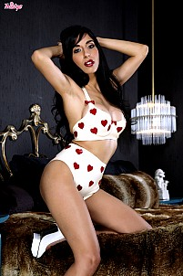 Idelsy in white with red hearts lingerie