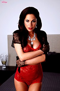 Kirsten Price in red lingerie stripping and opening her legs