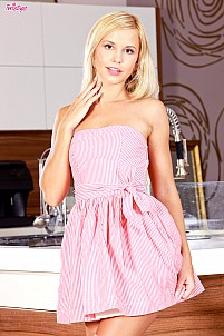 Lola Myluv lifting pink dress in kitchen