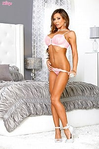 Madison Ivy sliding off pink lingerie