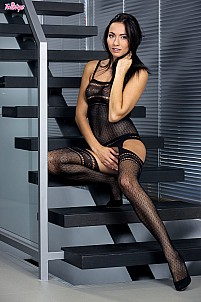 Michaela Isizzu is very naughty in black lingerie and stockings
