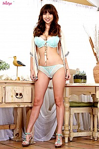 Shay Laren stripping light blue lingerie
