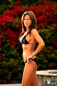 Jaclyn LeBlanc taking off black playboy bikini