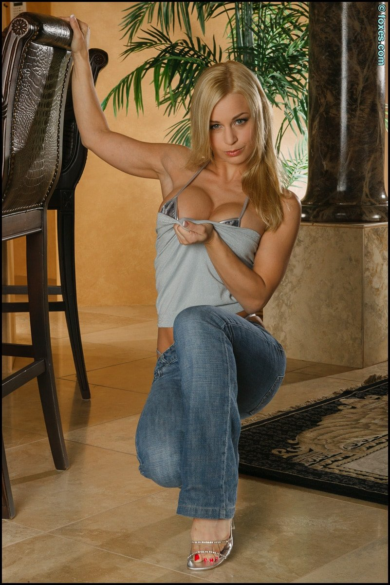jenny poussin in g-string and jeans