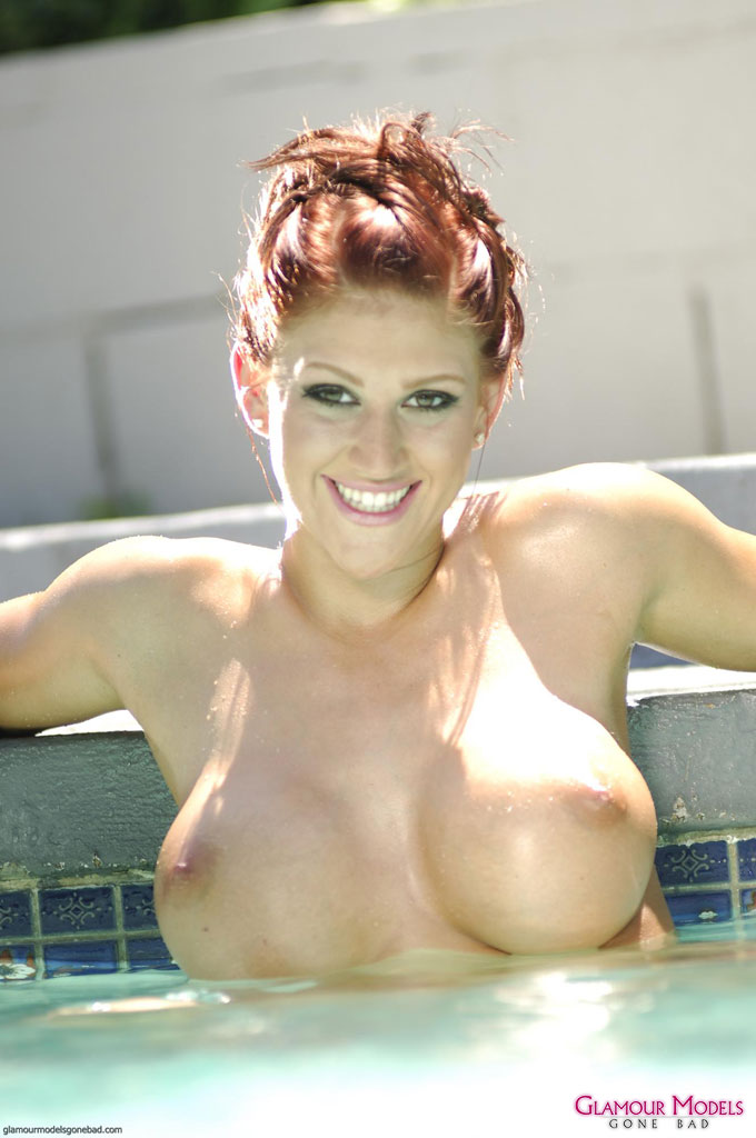 Eve Lawrence stripping and takes a dip in the pool