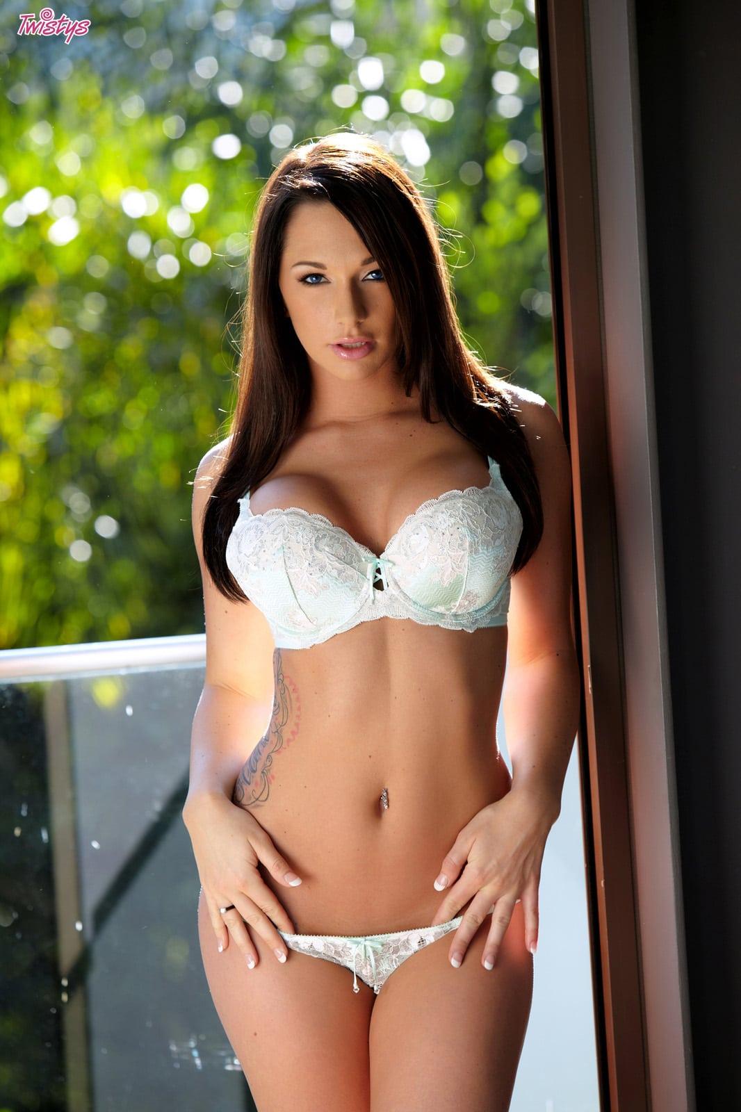 Madison ivy black latex top bikini strip 9