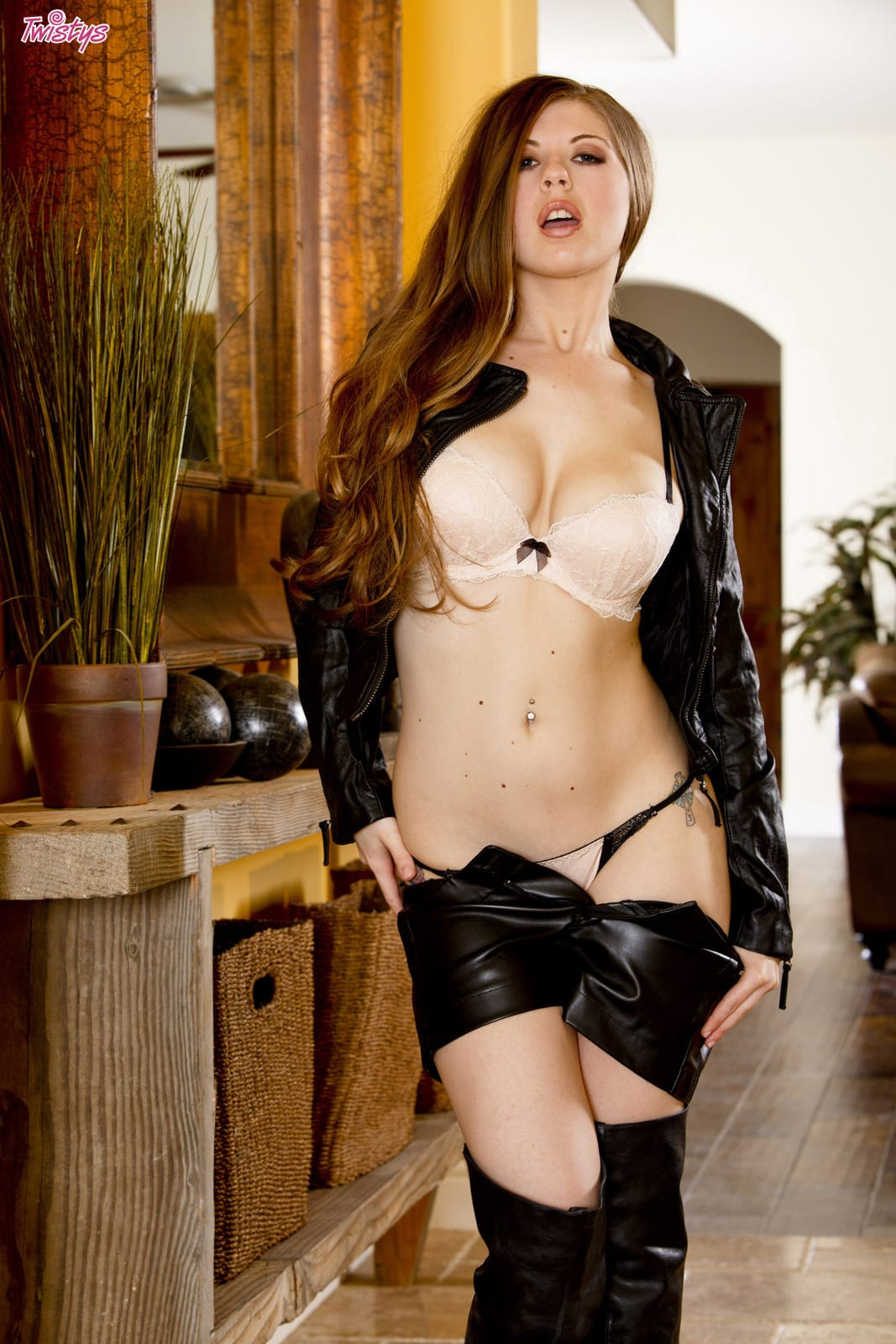 Jessi June stripping leather outfit and lingerie