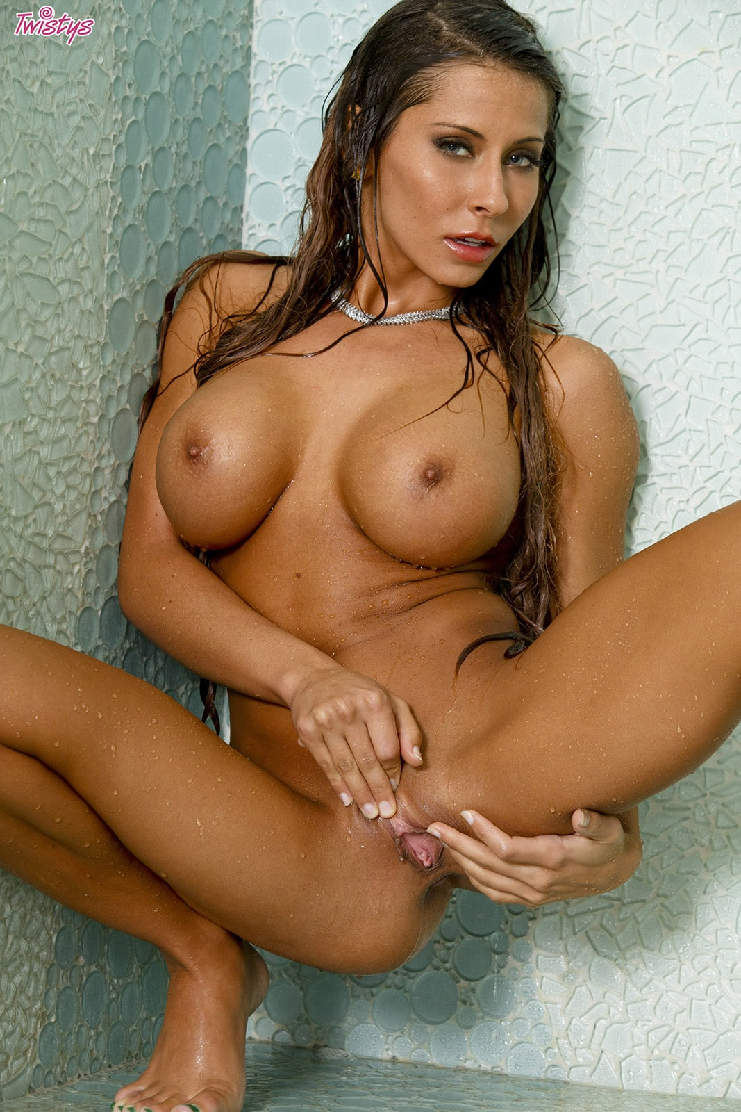Madison Ivy striping white lingerie and enjoying a shower