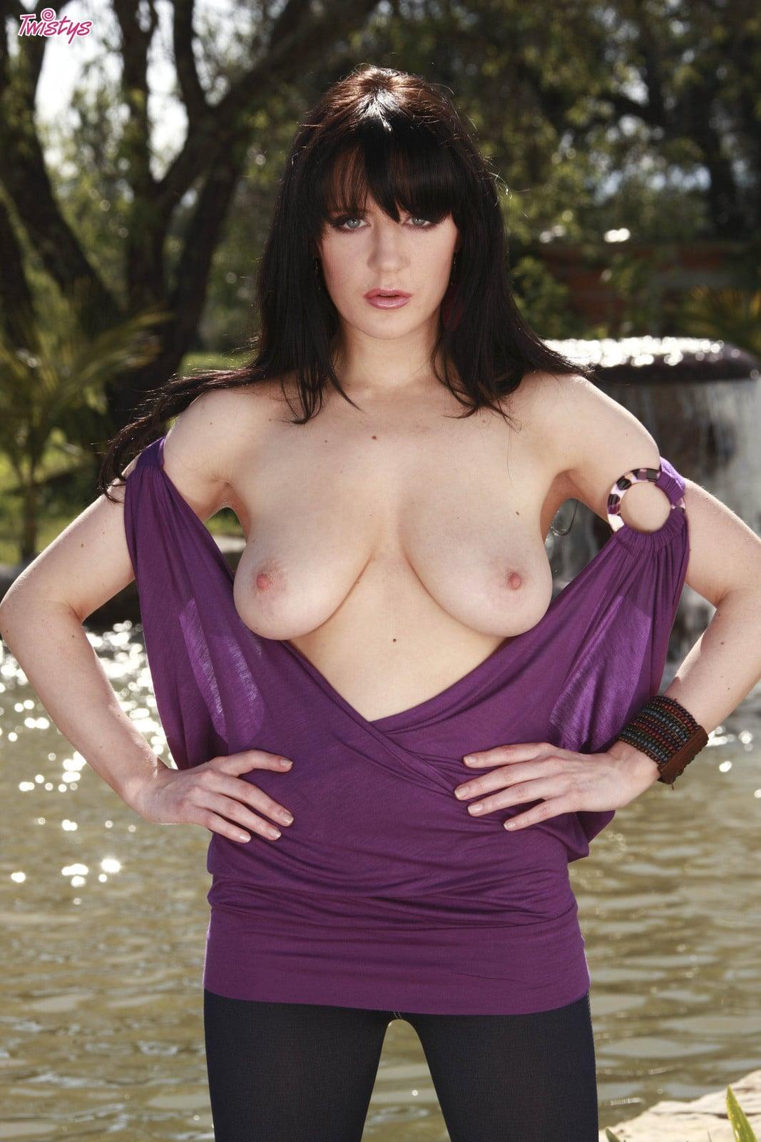 Samantha Bentley sliding off purple dress by the pool