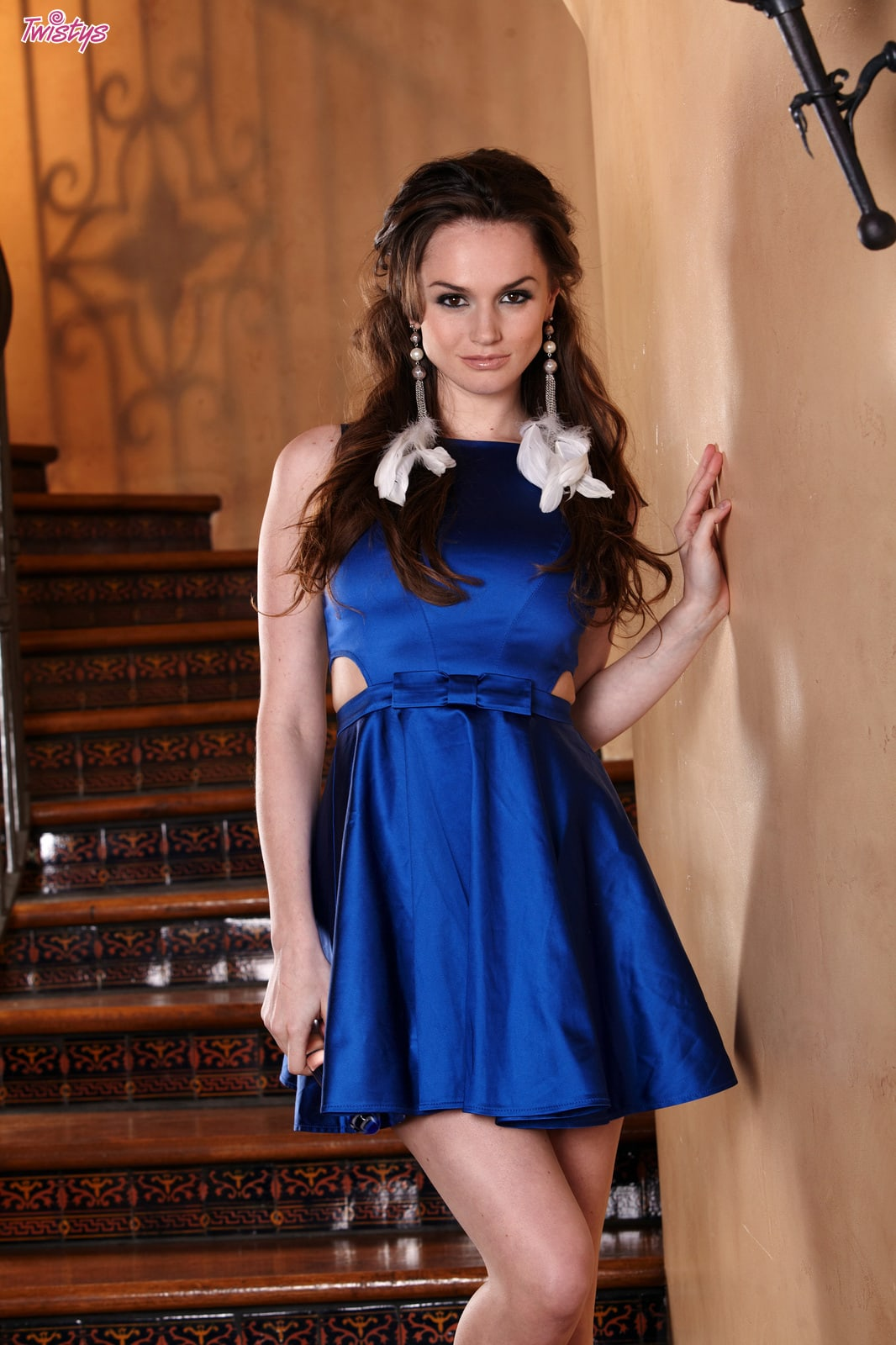 interracial porn blue dress - Tori Black taking off blue dress by stairway